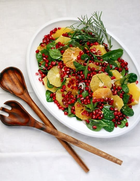 """<div class=""""caption-credit""""> Photo by: Brooklyn Supper</div><b>Orange and Pomegranate Salad <br></b> This salad is both great-tasting and great-looking. It features a host a season favorites like bright oranges and jewel-toned pomegranate seeds on a bed of young spinach. The light dressing is made with creamy buttermilk and a hint of fresh-squeezed orange juice. <br> <a href=""""http://www.babble.com/best-recipes/healthy-holiday-15-eye-catching-salad-recipes/#orange-and-pomegranate-holiday-salad"""" rel=""""nofollow noopener"""" target=""""_blank"""" data-ylk=""""slk:Get the recipe"""" class=""""link rapid-noclick-resp""""><i>Get the recipe</i></a> <br> <b><i><a href=""""http://www.babble.com/best-recipes/25-healthy-foods-to-add-to-your-diet-in-2012/"""" rel=""""nofollow noopener"""" target=""""_blank"""" data-ylk=""""slk:Related: 31 healthy foods to add to your diet in 2013"""" class=""""link rapid-noclick-resp"""">Related: 31 healthy foods to add to your diet in 2013</a></i></b>"""