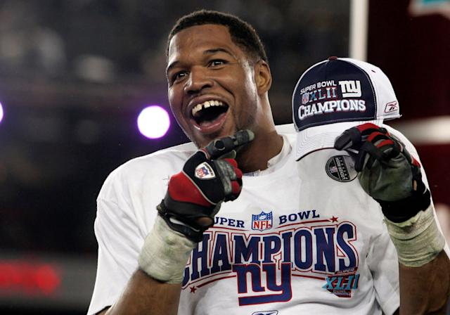 New York Giants defensive end Michael Strahan celebrates after his team's win over the Patriots in the Super Bowl XLII game on Feb. 3, 2008.  (Photo: Reuters Photographer / Reuters)