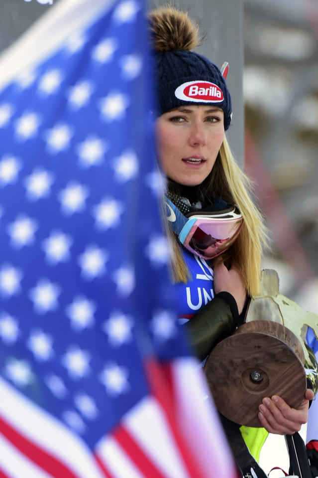 FILE - In this Dec. 29, 2019, file photo, first placed United States' Mikaela Shiffrin celebrates on the podium after completing a women's World Cup slalom ski race in Lienz, Austria. The Associated Press spoke to more than two dozen athletes from around the globe -- representing seven countries and 11 sports -- to get a sense of how concerned or confident they are about resuming competition. If the tests dont come back for a couple of days and what-not, how does that really work? said ski racer Mikaela Shiffrin, a two-time Olympic gold medalist and three-time World Cup overall champion. Its good to know if you test positive or negative. But if were talking about being tested today so we can race tomorrow, but the results dont come back for two days, it doesnt really help. (AP Photo/Pier Marco Tacca, File)