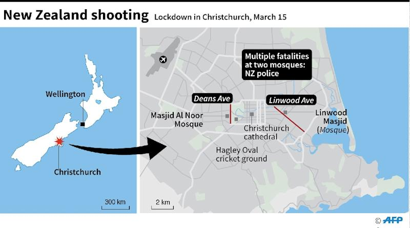 Map of Christchurch, New Zealand, showing Deans Ave and Linwood Ave where NZ police have reported 'multiple fatalities' at two mosques (AFP Photo/)