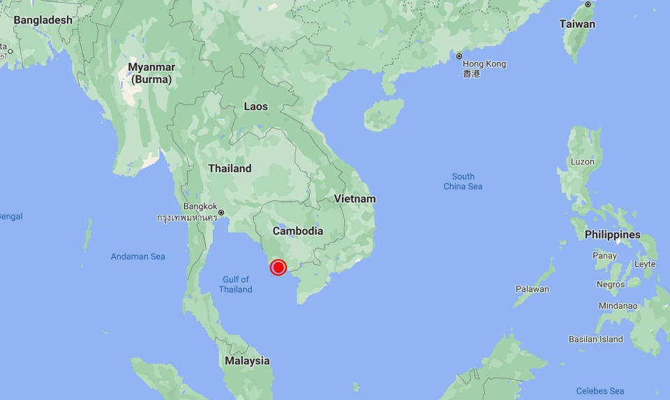 The Cambodian naval base sits at the northern edge of the gulf of Thailand. Source: Google Maps