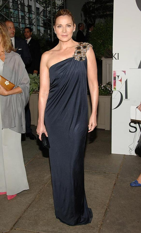 "A freshly coiffed Kim Cattrall put women half her age to shame in a one shoulder blue bejeweled gown. Jamie McCarthy/<a href=""http://www.wireimage.com"" target=""new"">WireImage.com</a> - June 2, 2008"