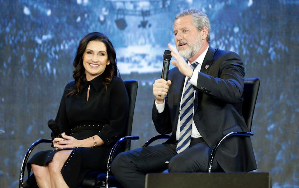 This November 2018 file photo shows Jerry Falwell Jr. and his wife, Becki, during a town hall at a convocation at Liberty University in Lynchburg, Virginia. (Photo: (AP Photo/Steve Helber))