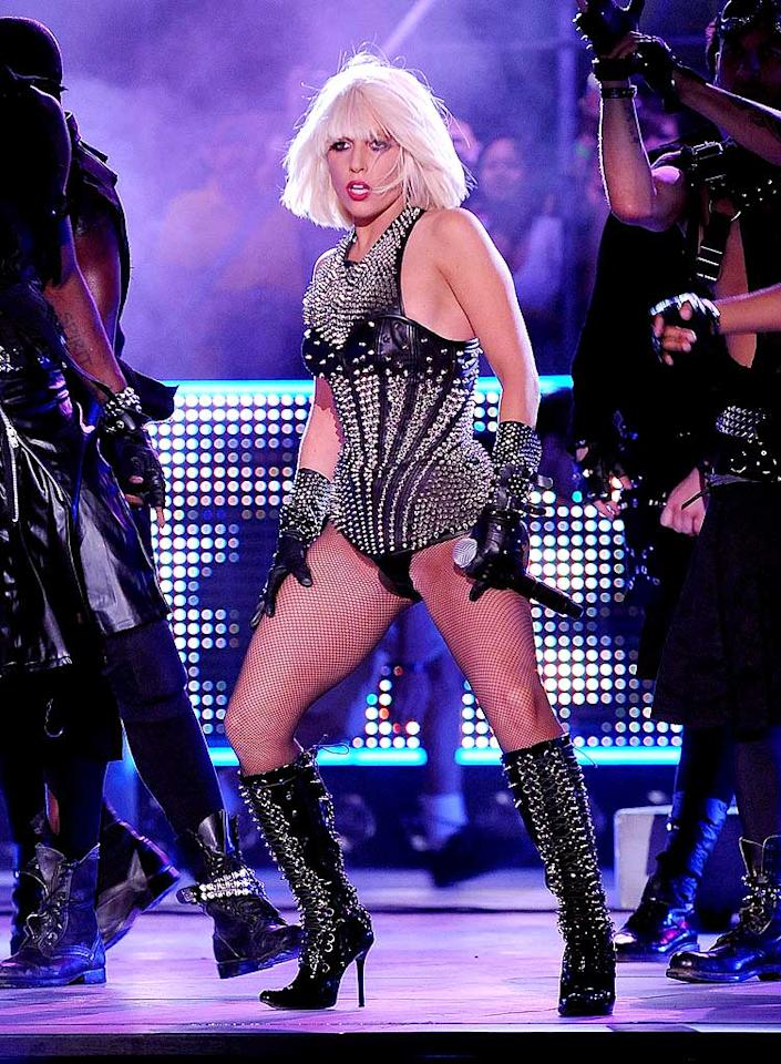 "Lady Gaga performed a medley of ""Poker Face"" and ""Love Game"" at the 20th annual MuchMusic Video Awards. The pop singer's racy routine included a bustier that shot sparks and a crew of leather-clad dancers. George Pimentel/<a href=""http://www.wireimage.com"" target=""new"">WireImage.com</a> - June 21, 2009"