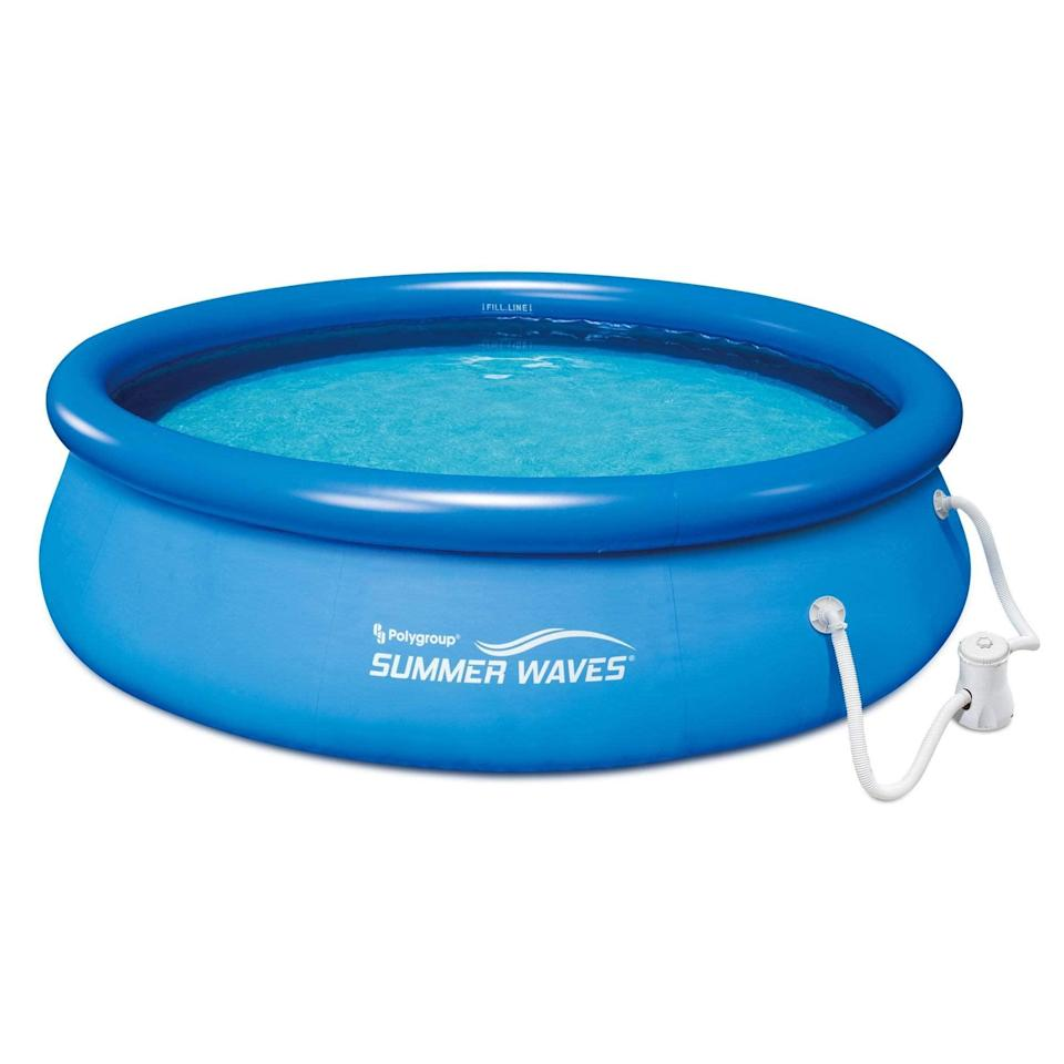 """<h2>Amazon</h2><br>Looking for a cooldown option that's straightforward, affordable, and quick to ship? Amazon is swimming with aquatically themed inflatable options that will help your backyard feel like the local pool.<br><br><em>Shop inflatable pools at <strong><a href=""""https://amzn.to/2SNKgFr"""" rel=""""nofollow noopener"""" target=""""_blank"""" data-ylk=""""slk:Amazon"""" class=""""link rapid-noclick-resp"""">Amazon</a></strong></em><br><br><strong>Summer Waves®</strong> 10ft x 30in Quick Set Inflatable Above Ground Pool, $, available at <a href=""""https://amzn.to/36odm0I"""" rel=""""nofollow noopener"""" target=""""_blank"""" data-ylk=""""slk:Amazon"""" class=""""link rapid-noclick-resp"""">Amazon</a>"""