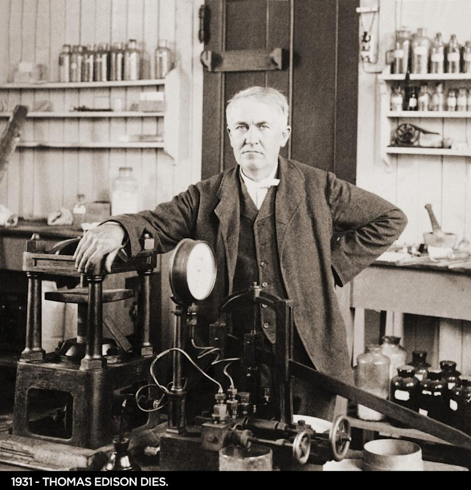 1931  Thomas Edison dies at 84. Considered the fourth most prolific inventor in history, holding 1.093 patents, including the motion picture camera.