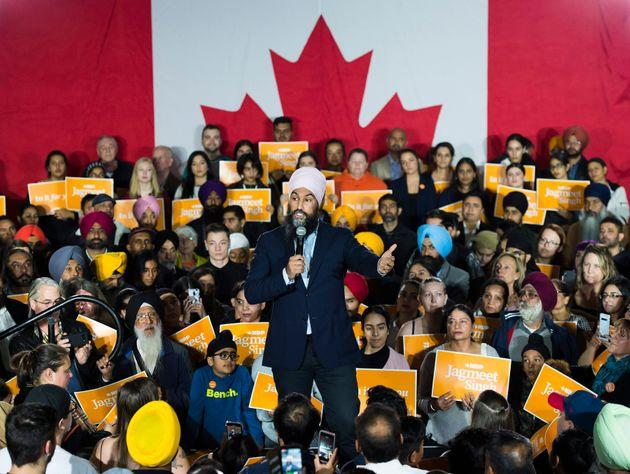 NDP Leader Jagmeet Singh speaks at a rally during a campaign stop in Surrey, B.C., on Oct. 13, 2019.