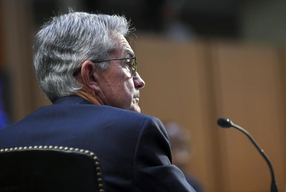 Federal Reserve Chairman Jerome Powell appears before a Senate Banking, Housing and Urban Affairs Committee hearing on the CARES Act on Capitol Hill, Tuesday, Sept. 28, 2021 in Washington. (Matt McClain/The Washington Post via AP, Pool)
