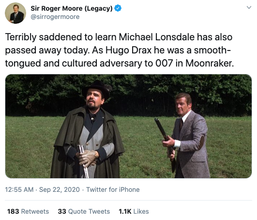 Sir Roger Moore's Twitter account paid tribute to Lonsdale. Photo: Twitter/sirrogermoore.