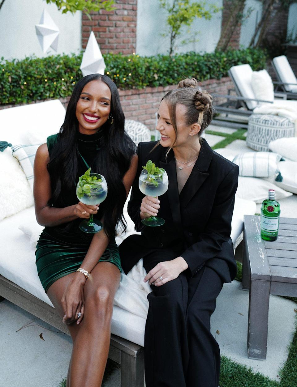 <p>Models Jasmine Tookes and Josephine Skriver get in the holiday spirit with Tanqueray in L.A. on Sunday.</p>
