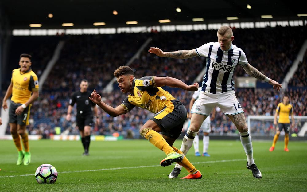 Arsenal's Alex Oxlade-Chamberlain and West Bromwich Albion's James McClean - Credit: PA