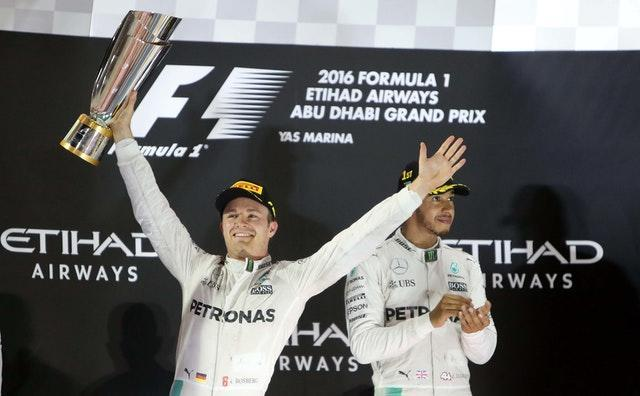 Nico Rosberg, left, took the world championship from Mercedes team-mate Lewis Hamilton