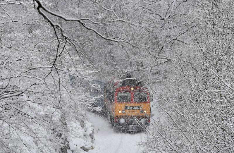 A passenger train crosses the Cuha Valley in the heavy snowfall near Vinye, some 140 km west of Budapest, Hungary, Tuesday, Jan. 8, 2019. (Zoltan Mathe/MTI via AP)