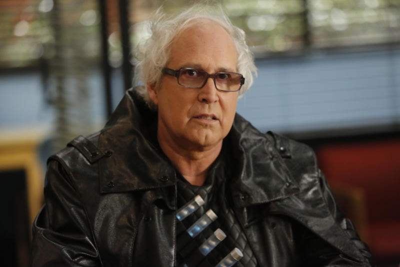 """COMMUNITY -- """"Advanced Intro To Finality"""" Episode 411 -- Pictured: Chevy Chase as Pierce -- (Photo by: Vivian Zink/NBCU Photo Bank/NBCUniversal via Getty Images via Getty Images)"""