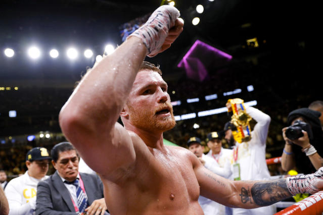 Canelo Alvarez, of Mexico, celebrates his win over Daniel Jacobs in a middleweight title boxing match Saturday, May 4, 2019, in Las Vegas. (AP Photo/John Locher)