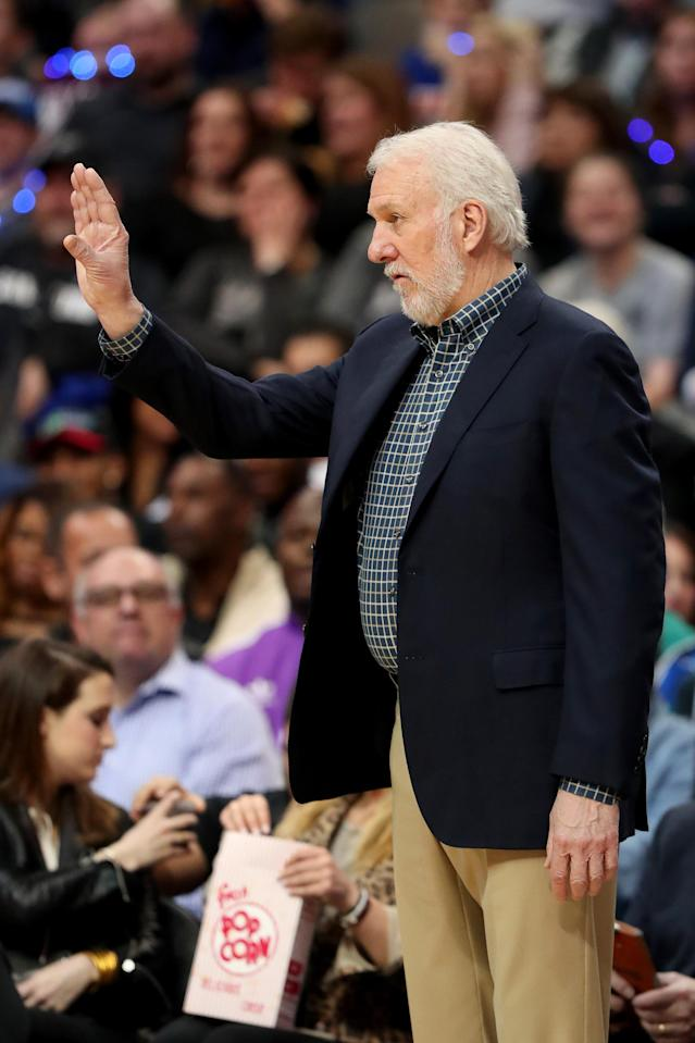 DALLAS, TEXAS - JANUARY 16: Head coach Gregg Popovich of the San Antonio Spurs leads the San Antonio Spurs against the Dallas Mavericks at American Airlines Center on January 16, 2019 in Dallas, Texas. (Photo by Tom Pennington/Getty Images)