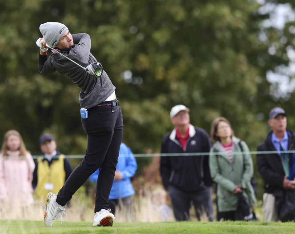 Carlota Ciganda, of Spain, watches her tee shot on the third hole during the final round of the LPGA Cambia Portland Classic golf tournament in West Linn, Ore., Sunday, Sept. 19, 2021. (AP Photo/Steve Dipaola)