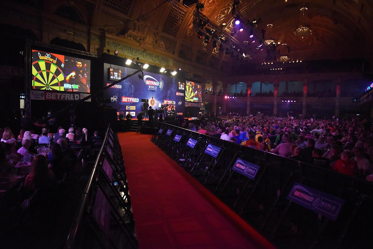 A view of the stage for the 2019 World Matchplay final