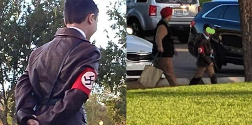 A public school teacher is under fire after photos of her son dressed as Hitler at a community Halloween event went viral. (Photo: Elaine Marie via Facebook)