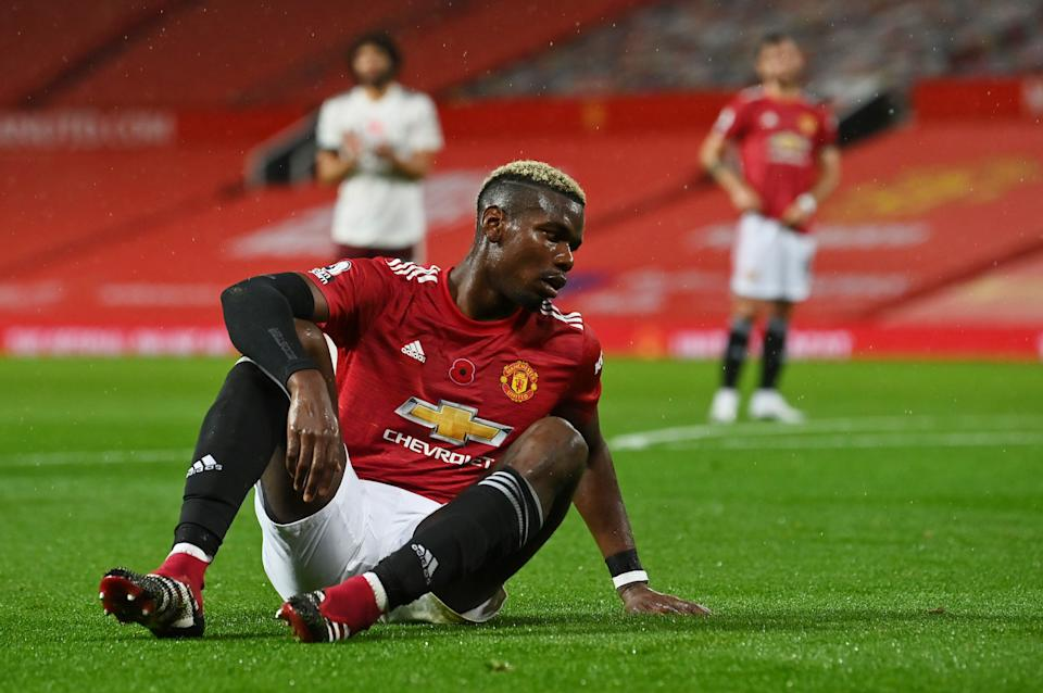 Manchester United's Paul Pogba reacts after fouling Arsenal's Hector Bellerin resulting in Arsenal being awarded a penalty.