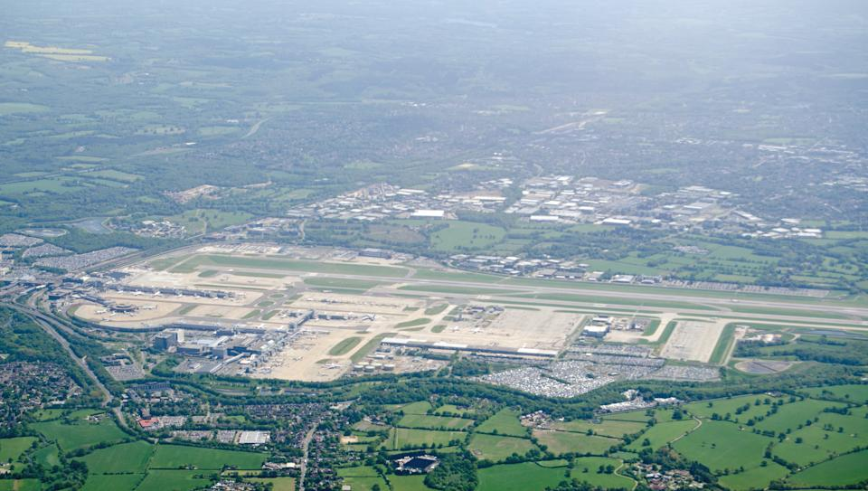 View from above of the runway and terminals at London's Gatwick Airport in Sussex, England.  The airport management would like to expand to two runways.