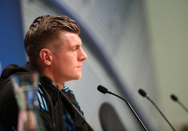 Soccer Football - Champions League - Real Madrid Press Conference - Allianz Arena, Munich, Germany - April 24, 2018 Real Madrid's Toni Kroos during the press conference REUTERS/Michael Dalder