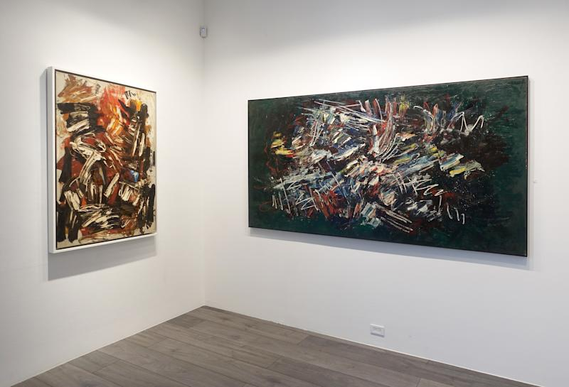 Installation view of Space Poetry: The Action Paintings of Michael West at Hollis Taggart.