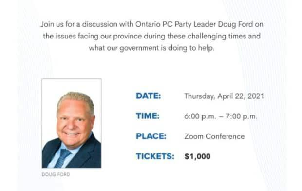 The premier — who has been noticeably absent from question period for the past two days following a widely-criticized news conference Friday — was scheduled to hold the fundraiser for the Ontario PC party Thursday, but that event has now been postponed. (OntarioPC.ca - image credit)