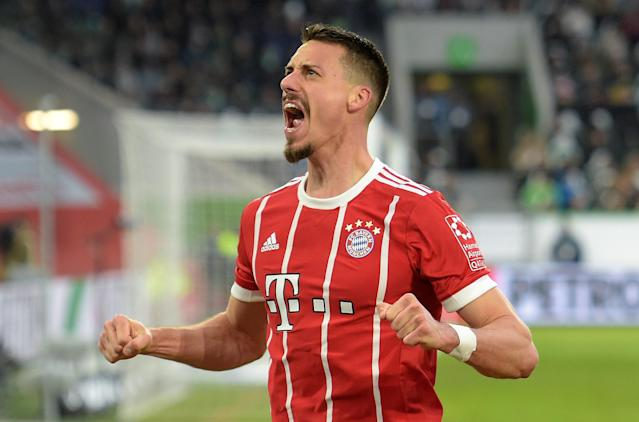 Soccer Football - Bundesliga - VfL Wolfsburg vs Bayern Munich - Volkswagen Arena, Wolfsburg, Germany - February 17, 2018 Bayern Munich's Sandro Wagner celebrates scoring their first goal REUTERS/Fabian Bimmer DFL RULES TO LIMIT THE ONLINE USAGE DURING MATCH TIME TO 15 PICTURES PER GAME. IMAGE SEQUENCES TO SIMULATE VIDEO IS NOT ALLOWED AT ANY TIME. FOR FURTHER QUERIES PLEASE CONTACT DFL DIRECTLY AT + 49 69 650050