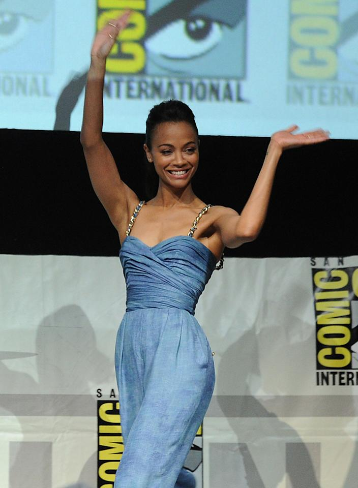 "SAN DIEGO, CA - JULY 20:  Actress Zoe Saldana speaks onstage at Marvel Studios ""Guardians of the Galaxy"" during Comic-Con International 2013 at San Diego Convention Center on July 20, 2013 in San Diego, California.  (Photo by Kevin Winter/Getty Images)"