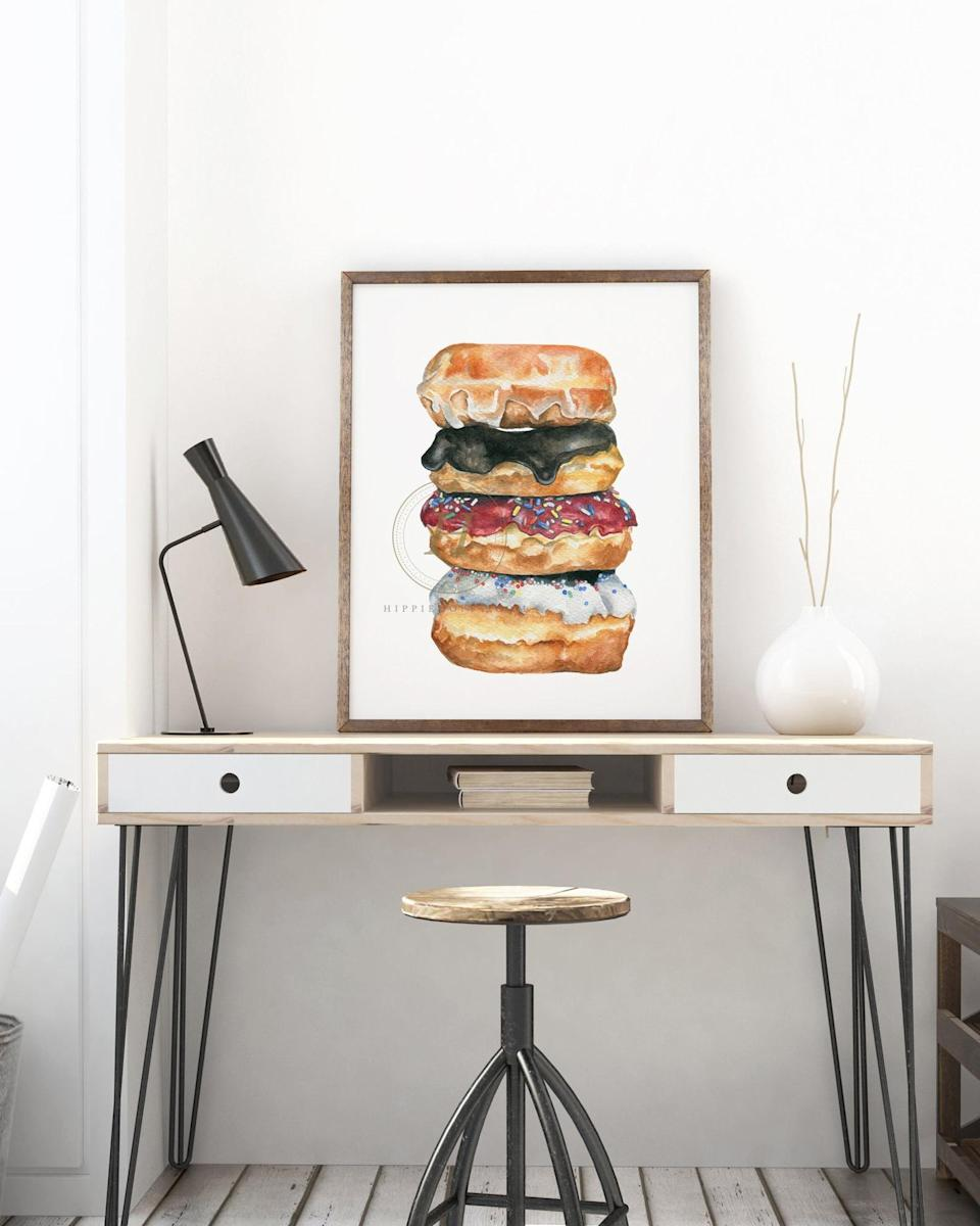 <p>Get this <span>Donut Watercolor Print</span> ($11 and up) for the friend who always craves donuts.</p>