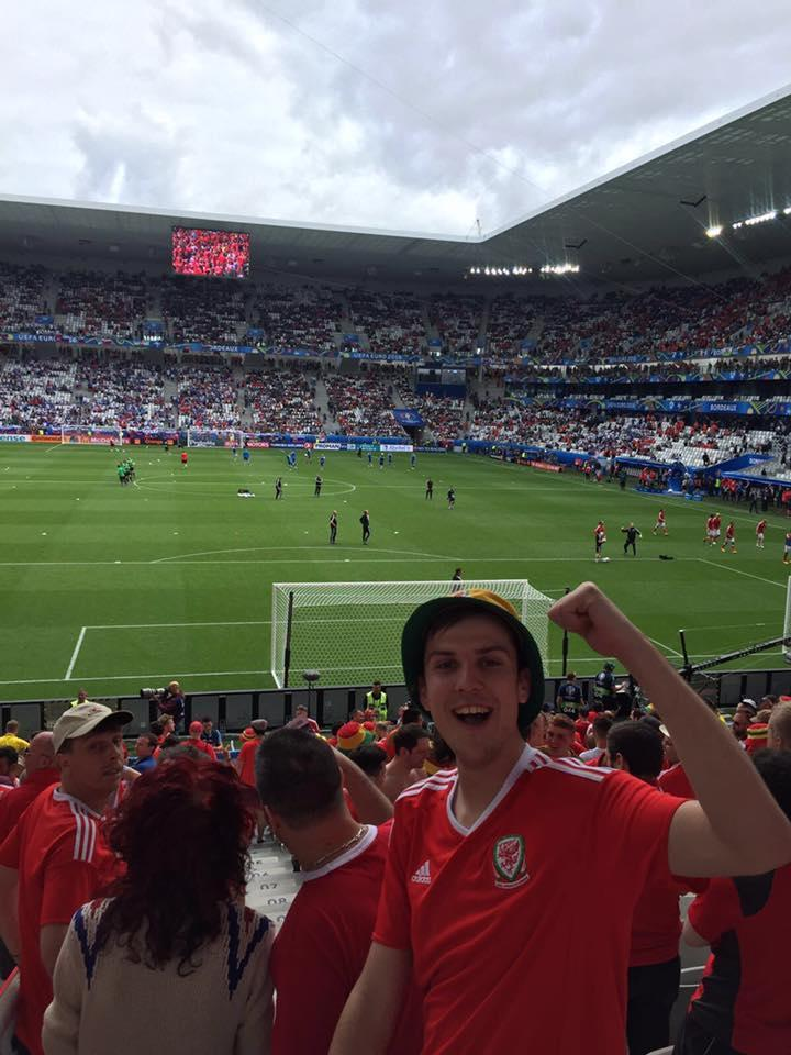 Wales fan Tom Phillips at a Euro 2016 match in France