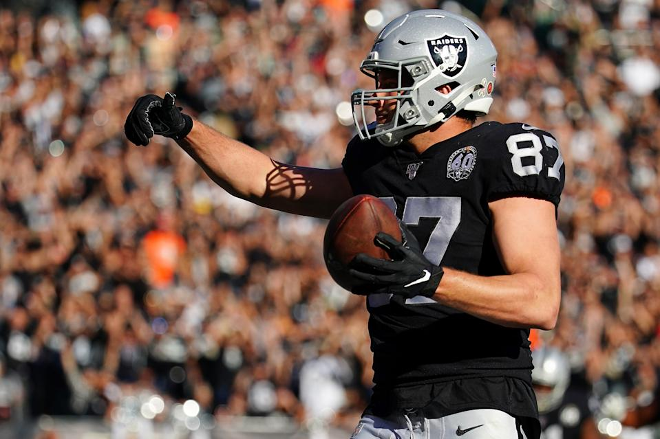 Foster Moreau has been part of the Raiders' strong rookie class of contributors. (Photo by Daniel Shirey/Getty Images)
