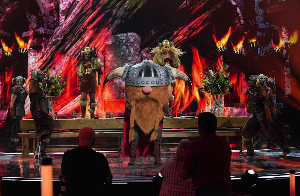 This image and the information contained herein is strictly embargoed until 00.01 Friday 15th January 2021  From Bandicoot TV  The Masked Singer: SR2: Ep4 on ITV  Pictured: Viking.  This photograph is (C) Bandicoot TV and can only be reproduced for editorial purposes directly in connection with the programme or event mentioned above, or ITV plc. Once made available by ITV plc Picture Desk, this photograph can be reproduced once only up until the transmission [TX] date and no reproduction fee will be charged. Any subsequent usage may incur a fee. This photograph must not be manipulated [excluding basic cropping] in a manner which alters the visual appearance of the person photographed deemed detrimental or inappropriate by ITV plc Picture Desk.  This photograph must not be syndicated to any other company, publication or website, or permanently archived, without the express written permission of ITV Picture Desk. Full Terms and conditions are available on the website www.itv.com/presscentre/itvpictures/terms  For further information please contact: james.hilder@itv.com / 0207 157 3052