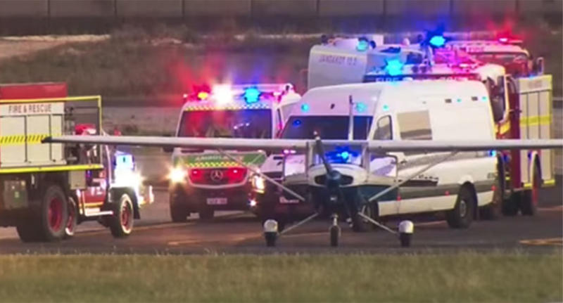 A trainee Perth pilot has safely landed a plane after his instructor reportedly collapsed mid-air. Source: 9 News