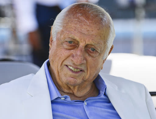 FILE - In this April 11, 2018, file photo, former Los Angeles Dodgers manager Tommy Lasorda attends a news conference in Los Angeles. Tommy Lasorda, the fiery Hall of Fame manager who guided the Los Angeles Dodgers to two World Series titles and later became an ambassador for the sport he loved during his 71 years with the franchise, has died. He was 93. The Dodgers said Friday, Jan. 8, 2021, that he had a heart attack at his home in Fullerton, California. (AP Photo/Damian Dovarganes, File)