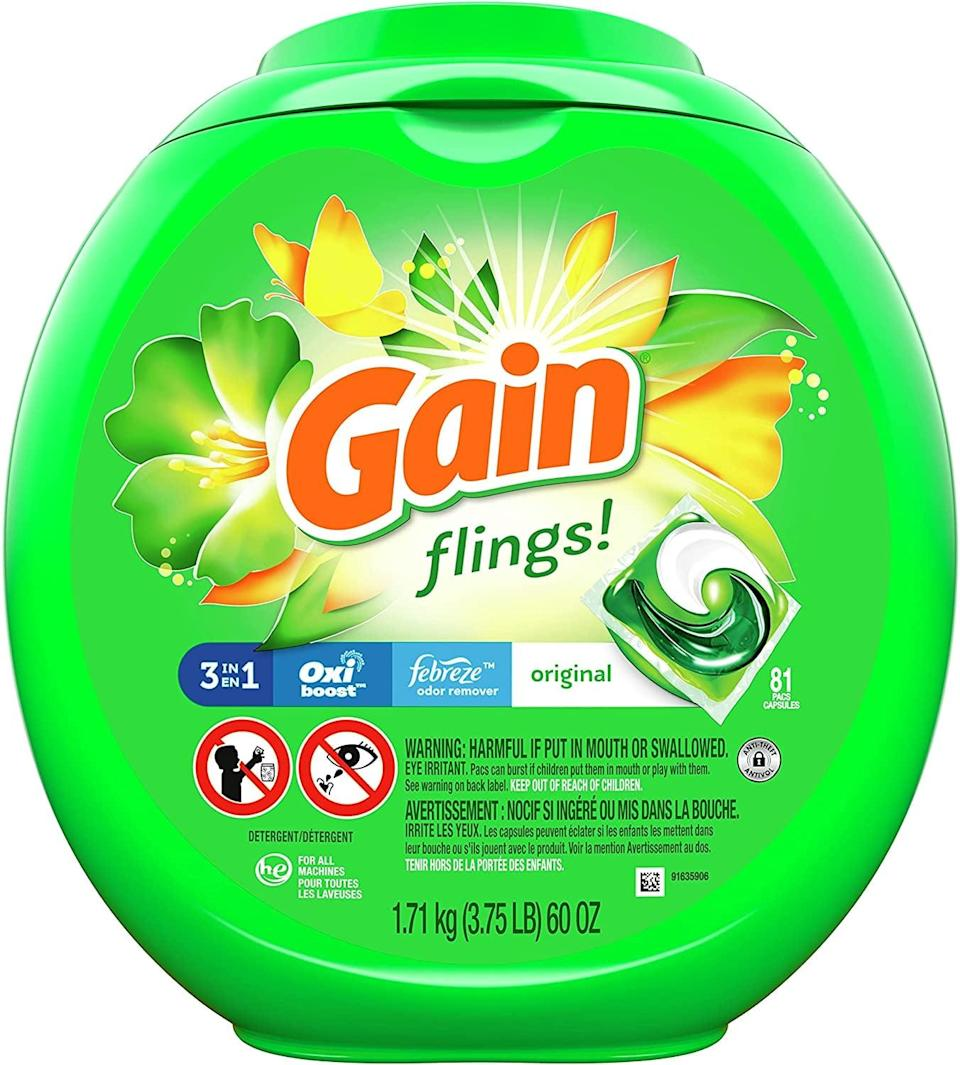 <p>Instead of wasting room with separate detergent and softener, the <span>Gain Flings! 3-in-1 Laundry Detergent, 81 Count</span> ($21) does the hard work for you and combines it all in one pod. Just toss a pod in with your laundry, and let the machine handle the rest. </p>