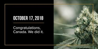 Congratulations, Canada. We did it. (CNW Group/Canopy Growth Corporation)