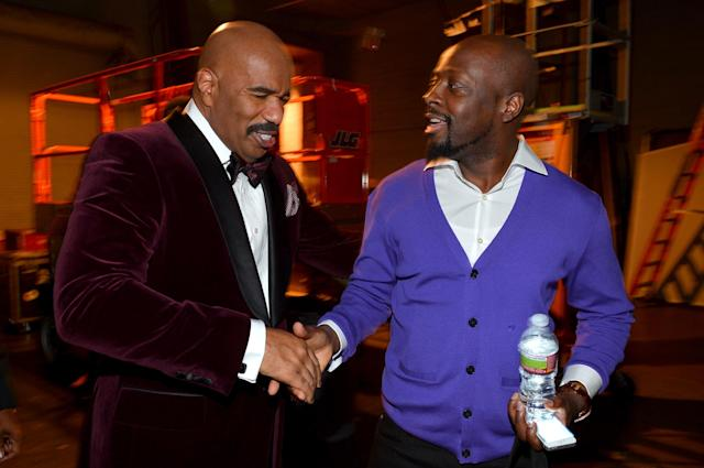 LOS ANGELES, CA - FEBRUARY 01: Host Steve Harvey (L) and singer Wyclef Jean attend the 44th NAACP Image Awards at The Shrine Auditorium on February 1, 2013 in Los Angeles, California. (Photo by Alberto E. Rodriguez/Getty Images for NAACP Image Awards)