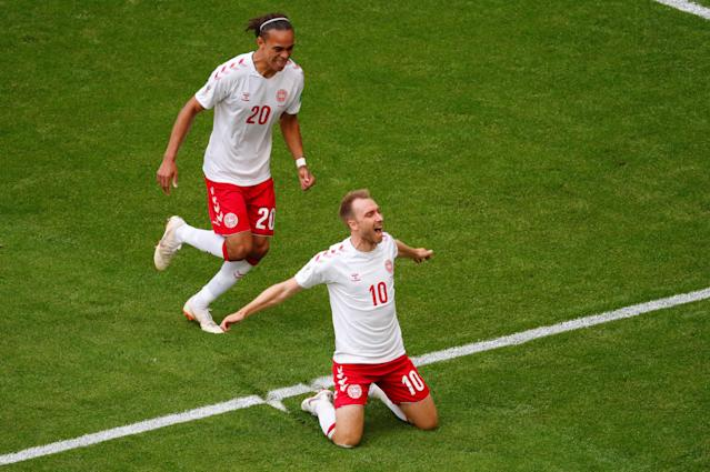 Soccer Football - World Cup - Group C - Denmark vs Australia - Samara Arena, Samara, Russia - June 21, 2018 Denmark's Christian Eriksen celebrates with Yussuf Poulsen after scoring their first goal REUTERS/David Gray