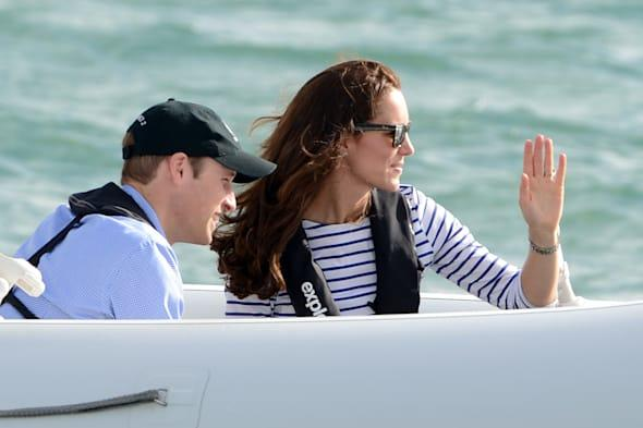 The Duke and Duchess of Cambridge travel across Auckland Harbour in a 'Sealegs' craft during the fifth day of their official tour to New Zealand. PRESS ASSOCIATION Photo. Picture date: Friday April 11, 2014. Photo credit should read: Anthony Devlin/PA Wire