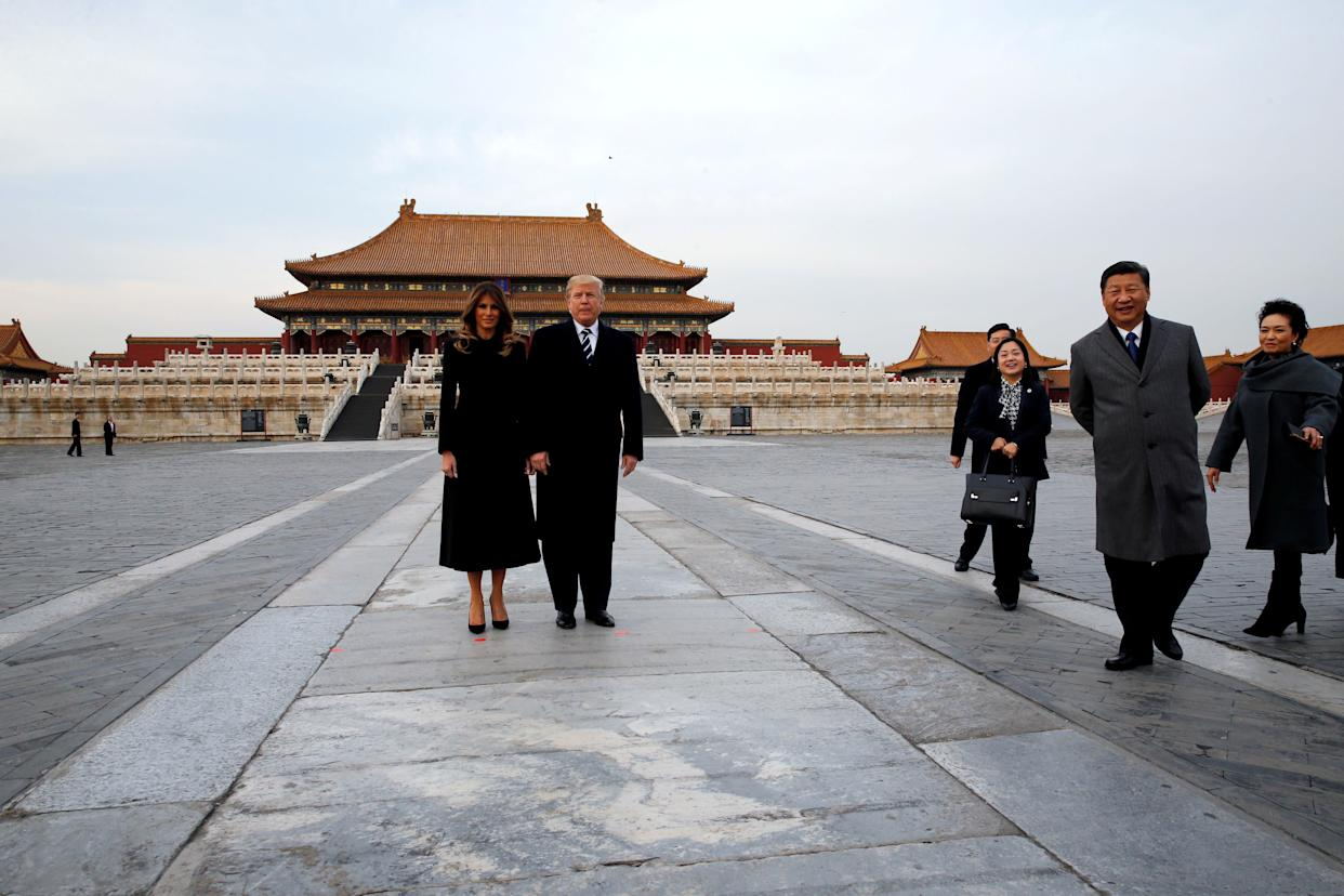 President Donald Trump and first lady Melania visit the Forbidden City.