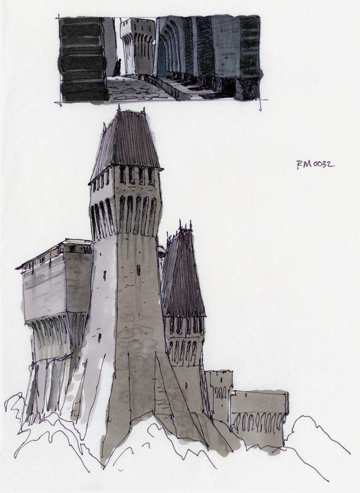 Early version of Vader's lair by Ralph McQuarrie (Lucasfilm/from the book 'Star Wars Art: Ralph McQuarrie')
