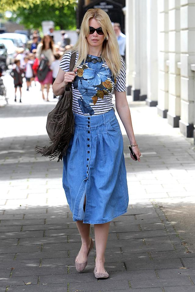 "If supermodel Claudia Schiffer wants to keep her title, perhaps she should invest in something other than an ill-fitting, button-up jean skirt. Ian Lawrence/<a href=""http://www.splashnewsonline.com"" target=""new"">Splash News</a> - July 8, 2010"