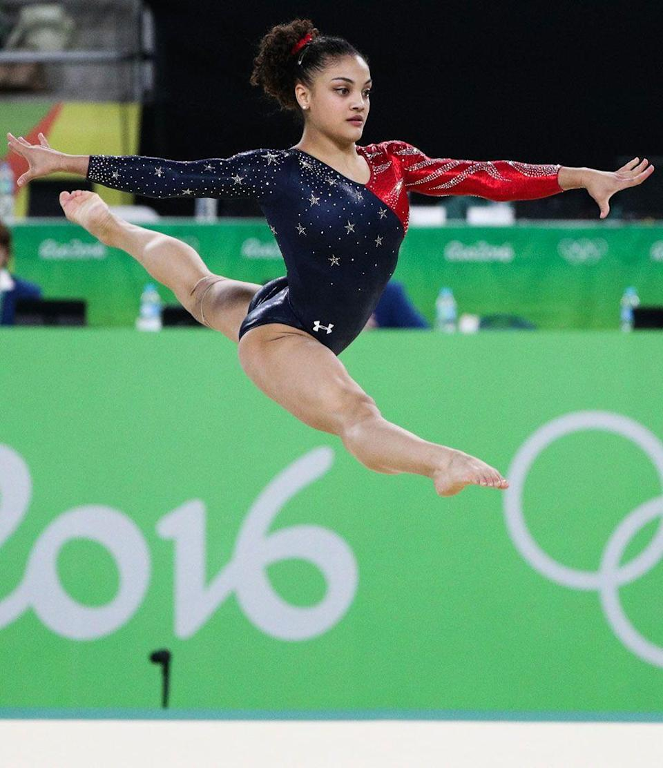 <p><em>Laurie Hernandez</em></p><p>And here we are. This leotard has almost 5,000 crystals and costs about $1,200. Yep!</p>
