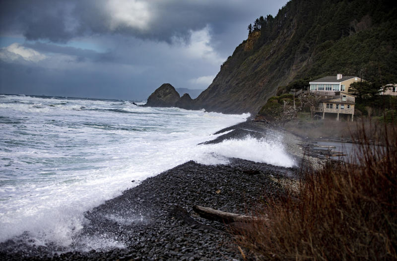Pictured is the Falcon Cove area where the children and father were swept away. Source: Mark Graves/The Oregonian via AP