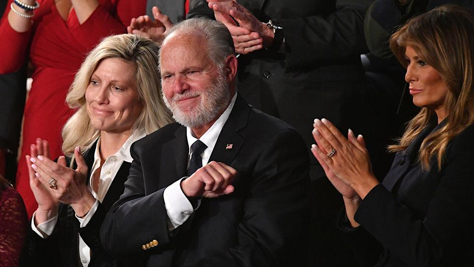 Radio personality Rush Limbaugh pumps his fist as he is acknowledged by US President Donald Trump as he delivers the State of the Union address at the US Capitol in Washington, DC, on February 4, 2020. (Mandel Ngan/AFP via Getty Images)
