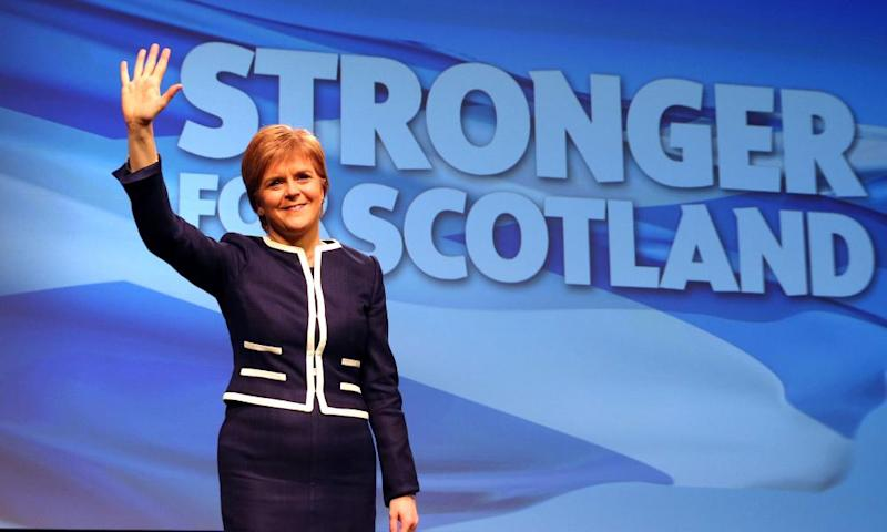 First Minister and SNP leader Nicola Sturgeon waves during the SNP spring conference in Aberdeen.