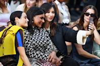<p>Mindy Kaling and Gemma Chan take a selfie at the Tory Burch Spring/Summer 2022 show during New York Fashion Week on Sept. 12.</p>