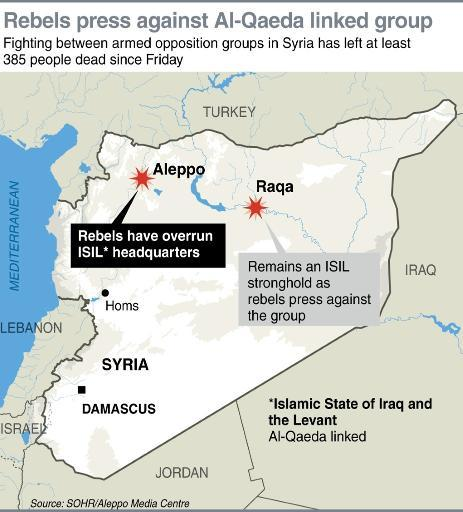 Map locating Aleppo in Syria where rebels have overrun the headquarters of an Al-Qaeda linked militant group